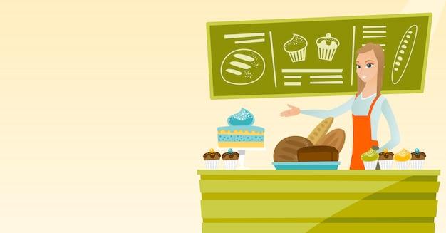 Arbeitskraft, die hinter der theke an der bäckerei steht.