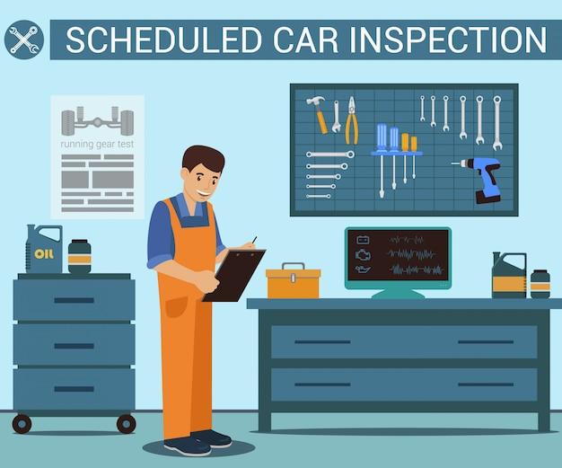 Arbeitskraft mit notizbuch in der hand an der tankstelle. autoservice. computerdiagnose. uniformierter arbeiter. autoteile.