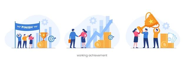 Arbeitsleistung, belohnung, geschäftsteamwork, wachstumsgewinn, flaches vektorillustrationsbanner