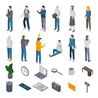 Arbeitslose symbole festgelegt, isometrische stil