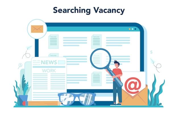 Arbeitsloser onlinedienst oder plattform. auf der suche nach arbeit oder job. idee der beschäftigung.