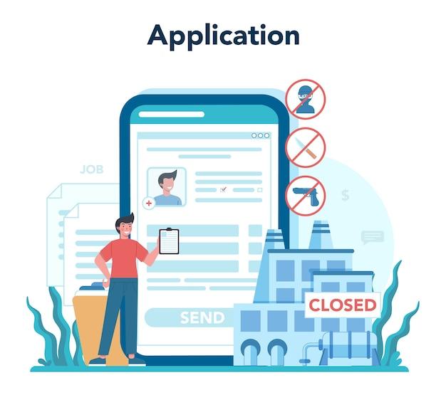 Arbeitsloser onlinedienst oder plattform