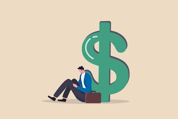 Arbeitslosigkeit, arbeitslosigkeit verursacht finanzielle probleme, schulden oder insolvenz büroangestellter