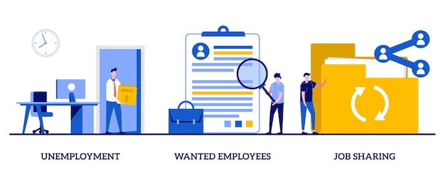 Arbeitslosigkeit, gesuchte mitarbeiter, job-sharing-konzept mit kleinen leuten Premium Vektoren
