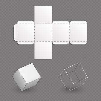 Arbeitsoberfläche des kastenmodells, würfelvektorschablone. kastenwürfel-modellbau-projektillustration