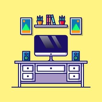 Arbeitsplatz cartoon illustration computer mit monitor buch pflanze und ton auf tisch