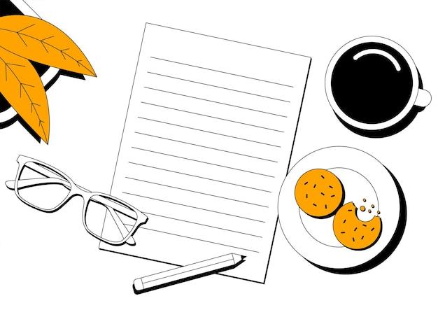 Arbeitsplatz draufsicht kopie raum weißes schreibtischbüro mit leerem papier