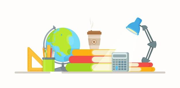 Arbeitsplatz eines jeden schülers oder studenten. vorbereitung auf prüfungen.