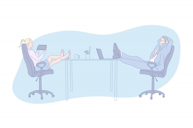 Arbeitsplatz, entspannen sich, gerät, büro, wochentag, illustration