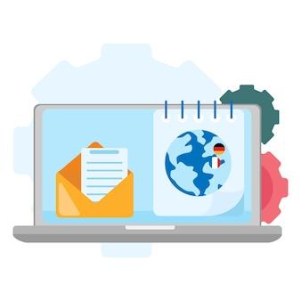 Arbeitsplatz für unternehmen. büroarbeitsplatz. designer-desktop in flacher design-vektor-illustration.