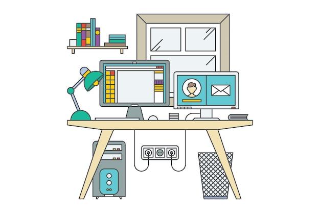 Arbeitsplatz. home-office-vektor-illustration. schreibtisch mit 2 computern. fenster und bücherregal. grüne lampe.