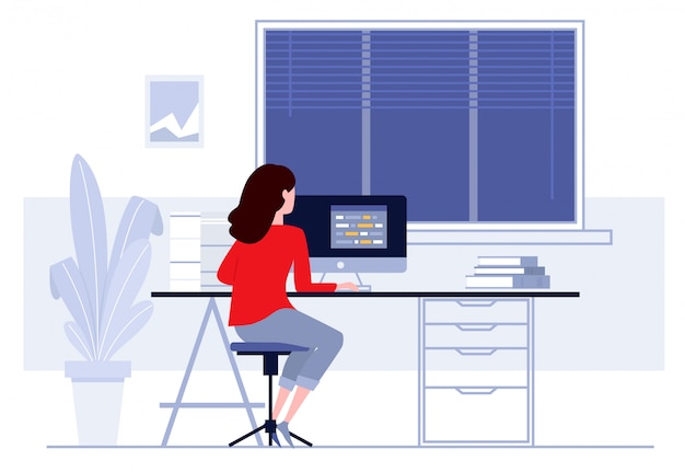 Arbeitsplatz im büro, geschäftsfrau, die an computer an ihrem schreibtisch arbeitet