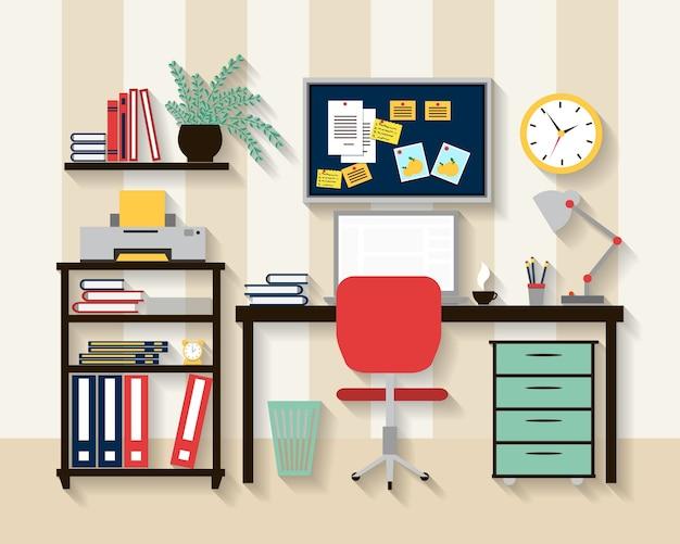Arbeitsplatz im schrankraum. laptop und tisch, stuhl und uhr, lampe und komfort.