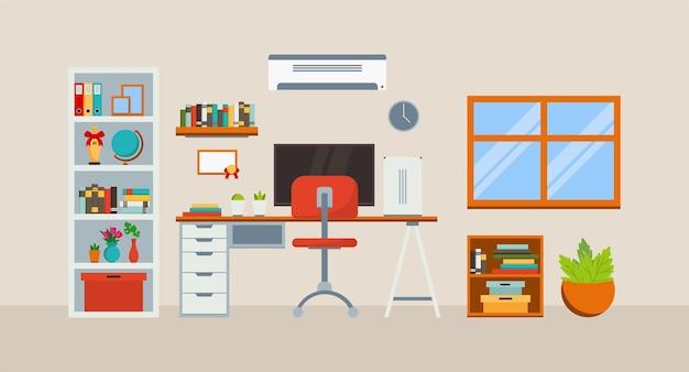 Arbeitsplatz im zimmer mit computertisch