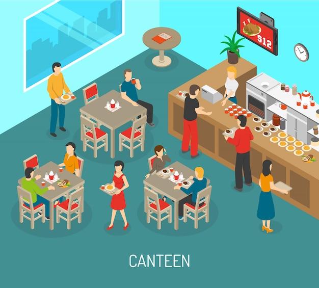 Arbeitsplatz-kantinen-mittagessen-isometrische plakat-illustration