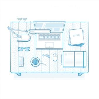 Arbeitsplatz. minimalistisch gefüttert