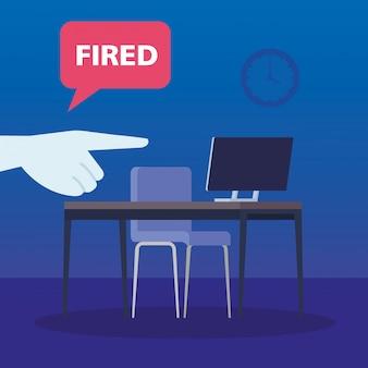 Arbeitsplatz mit gebranntem etikett in der sprechblase