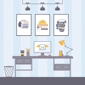 Arbeitsplatz mit inspirierenden postern. modernes bürointerieur, desktop mit computermonitor und lampe. motivierende einrichtung des arbeitsbereichs für professionelle manager