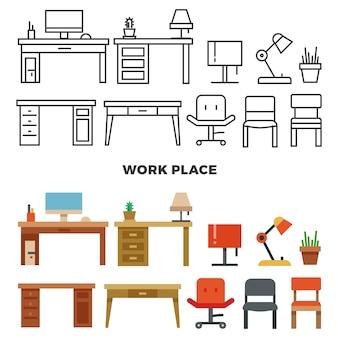 Arbeitsplatz möbel und sammlung