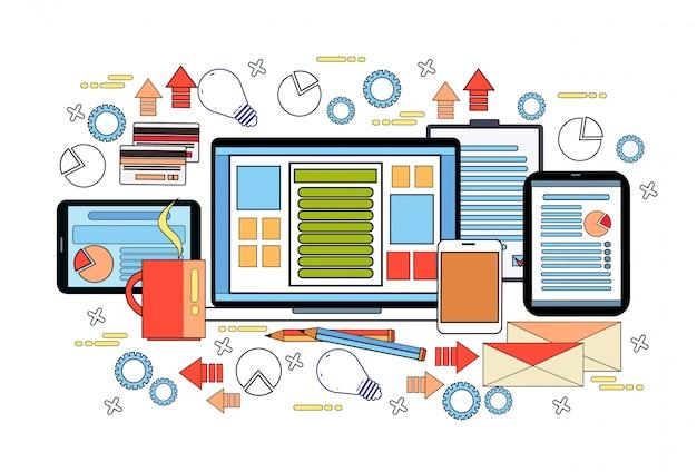 Arbeitsplatz-schreibtisch-konzept, geschäfts-arbeits-desktop mit laptop-computer, diagrammen und dokumenten auf digital-tablets