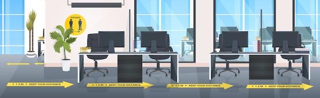 Arbeitsplatz schreibtisch mit zeichen für soziale distanzierung gelbe aufkleber coronavirus epidemie schutzmaßnahmen büro interieur horizontal