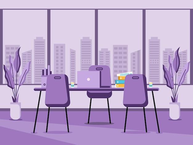 Arbeitsplatz und arbeitsplatz flaches design konzept des schreibtisches oder büroinnenraums mit möbeln modernes bürozimmer mit computertischtischstuhl und stationärer ausrüstung