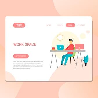 Arbeitsplatz- und büroillustration für website