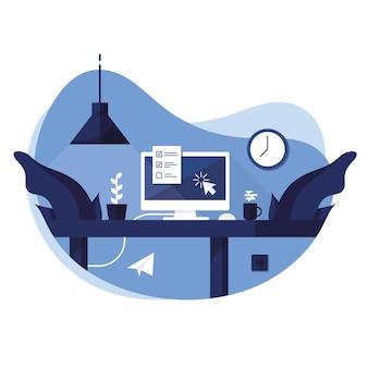 Arbeitsplatz zu hause, im büro. computer, laptop, pc mit tastatur und maus. fragebogen, to-do-liste. ein tisch mit einer blume in einem topf und einer tasse mit tee und dampf. papierflieger. blau.