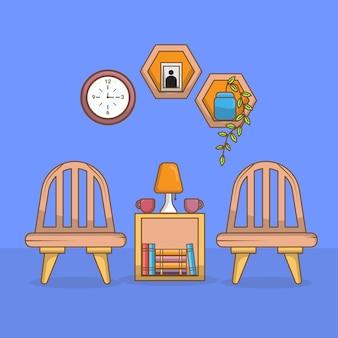 Arbeitsplatzgestaltung mit zwei stühlen im vorderhaus