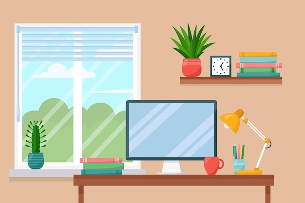 Arbeitsplatzraum, innenraum des arbeitsschrankes zu hause, vektorillustration