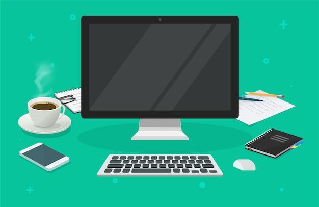 Arbeitsplatztischschreibtisch mit leerem leerem bildschirm des computers für karikatur des kopienraumvektors 3d
