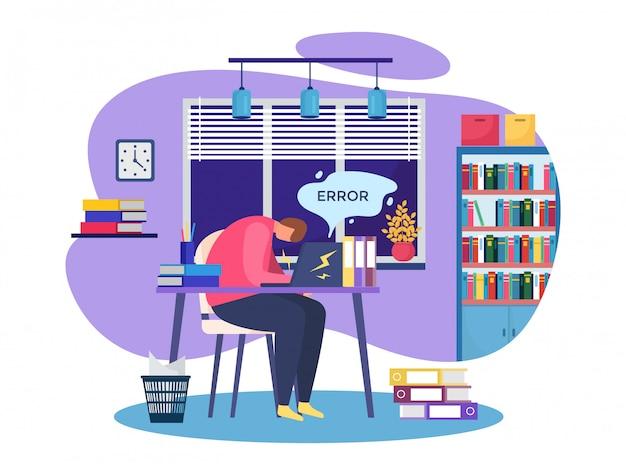 Arbeitsproblem, cartoon beschäftigte leute, die hart im stress arbeiten, haben krise, geschäftsaufgabenfehlerkonzept auf weiß