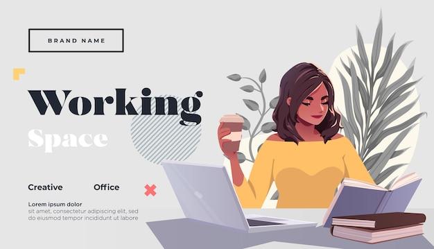 Arbeitsraum zielseitenvorlage junge weibliche freiberuflerin mit laptopn