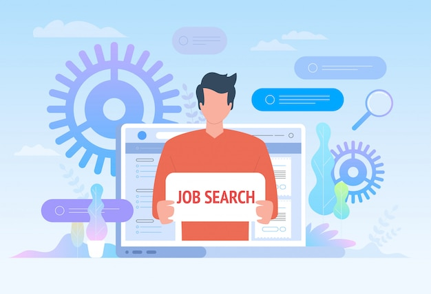 Arbeitssuche. mitarbeiter auf der suche nach jobillustration