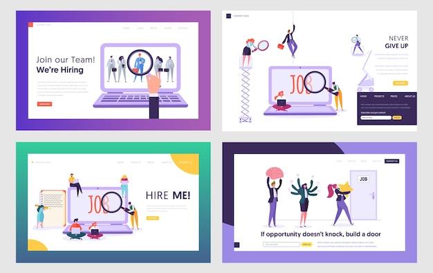 Arbeitssuchende suchen arbeitswebsite landing page templates set.