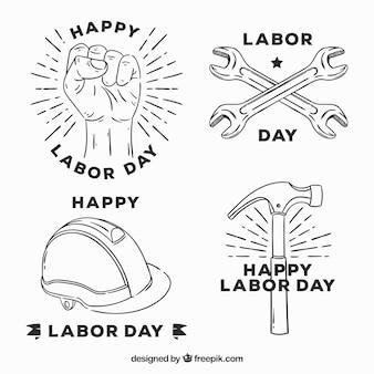 Arbeitstag abzeichen sammlung mit werkzeugen