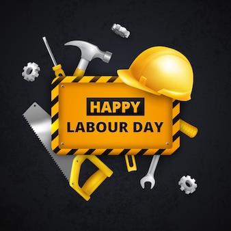 Arbeitstag für schutzausrüstung und werkzeuge