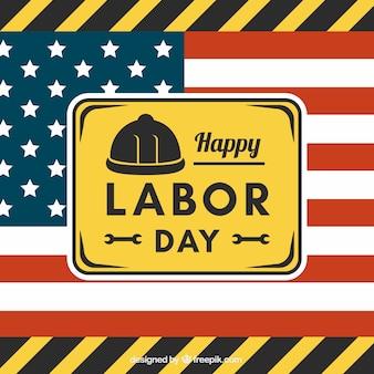 Arbeitstag hintergrund mit werkzeugen und flagge