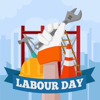 Arbeitstag mit hand des arbeiters dargestellt