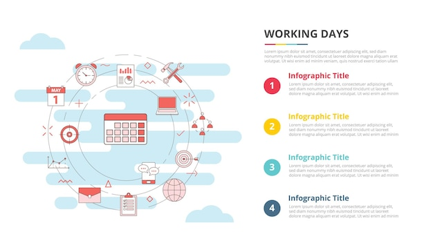 Arbeitstage-konzept für infografik-vorlagen-banner mit vier-punkte-listen-informationsvektor
