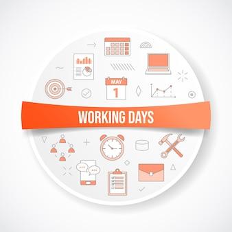 Arbeitstagekonzept mit ikonenkonzept mit rundem oder kreisformvektor