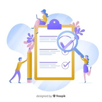 Arbeitsteam, das riesige checkliste überprüft