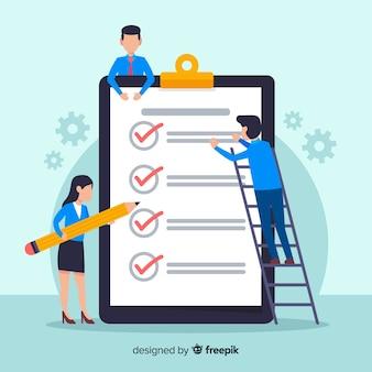 Arbeitsteam, das riesigen checklistenhintergrund überprüft