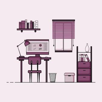 Arbeitstisch flaches design konzept des arbeitstischinnenraums mit möbeln arbeitszimmer mit computertischtischstuhlbuch und stationärer ausrüstung arbeit von zu hause cartoon