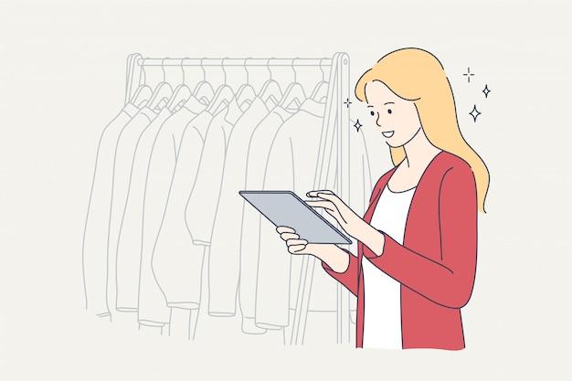 Arbeitstuch einkaufen geschäftsmode schönheitskonzept