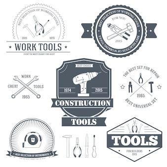 Arbeitswerkzeuge setzen etikettenvorlage des emblemelements für ihr produkt oder design
