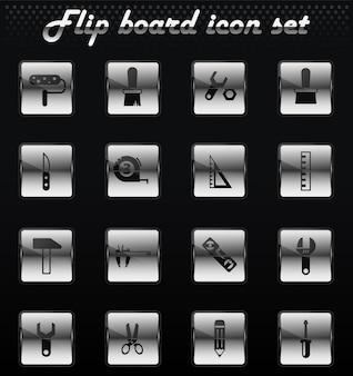 Arbeitswerkzeuge vektor-flip-mechanische symbole für das design der benutzeroberfläche