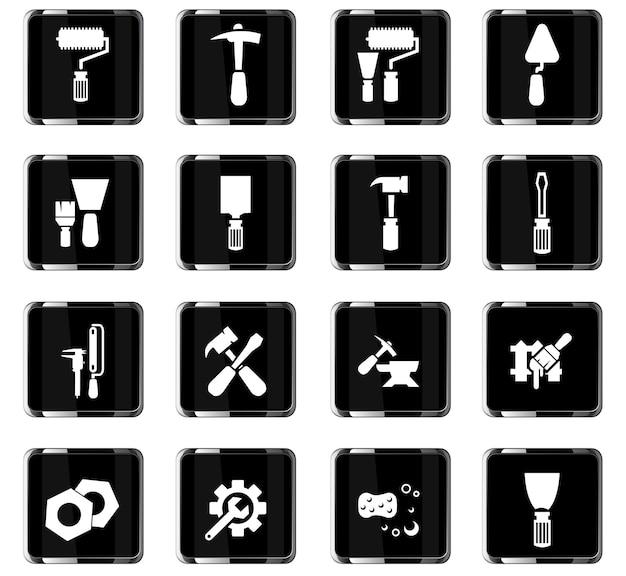 Arbeitswerkzeuge-vektorsymbole für das design der benutzeroberfläche