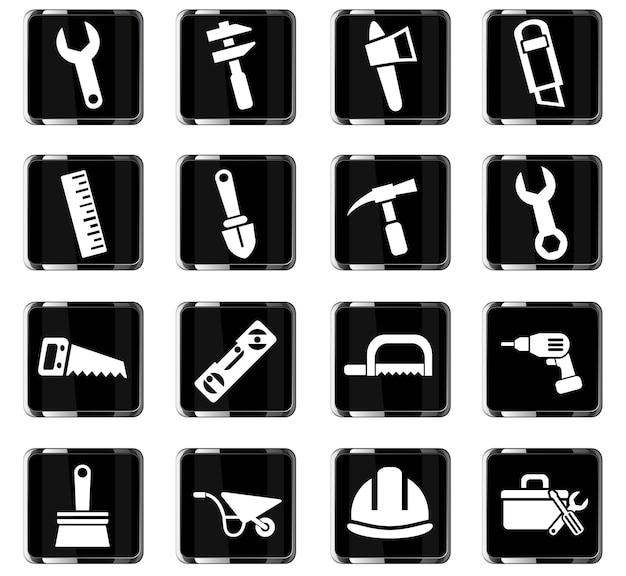 Arbeitswerkzeuge-websymbole für das design der benutzeroberfläche