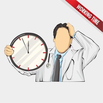 Arbeitszeit des doktors, ilustration